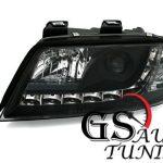 Кристални фарове за AUDI А6 с дневни светлини 1997-2001 - черни