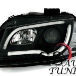 Кристални фарове лайтбар дизайн за Ауди А3 2008-2012 черни