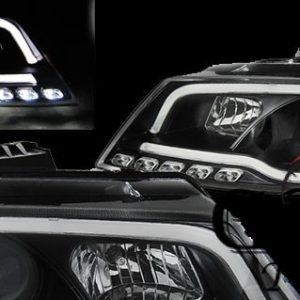 Кристални фарове лайтбар дизайн за Ауди А3 2008-2012 черни-gs-autotuning.com