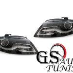 Кристални фарове с дневни светлини за AUDI А4 B8 2007-2011 - черни-gs-autotuning
