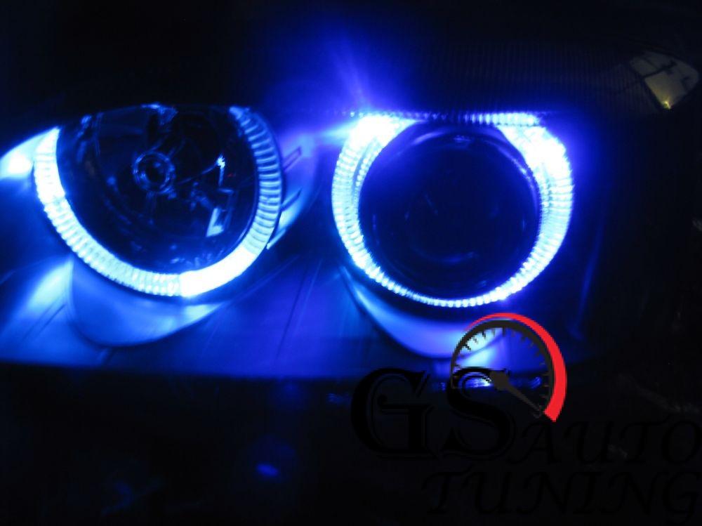 Кристални фарове Angel Eyes AUDI А3 2000-2003 черни-gs-autotuning.com-blue