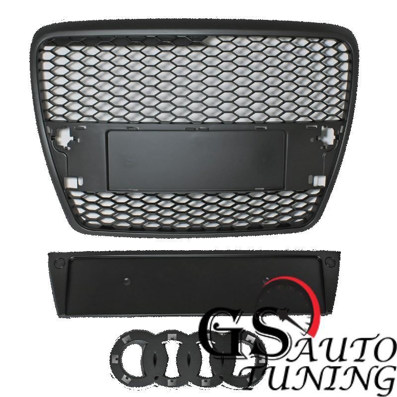 Решетка без емблема за AUDI A6 4F 2004-2008 черна RS Look