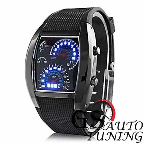 Спортен Часовник - RPM Turbo Дизайн - черен с ултра модерен дизайн, имитиращ плазмено табло на най-съвременни автомобили