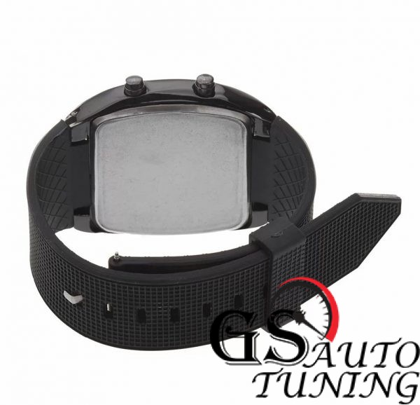 Спортен Часовник - RPM Turbo Дизайн - черен. Висококачествена изработка от метал за корпуса и от пластмаса за каишката